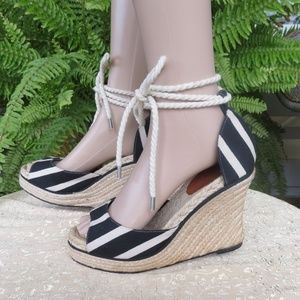Kate Spade Navy Striped Open Toe Rope Wedges 9